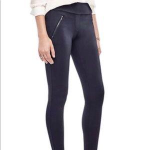 ANN TAYLOR Ponte Black Zipper Leggings Pant